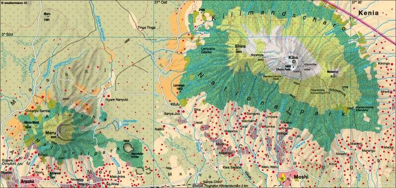 Kilimandscharo/Meru (Nord-Tansania) | Natur- und Kulturlandschaft | Afrika - Landwirtschaft/Desertifikation | Karte 135/6