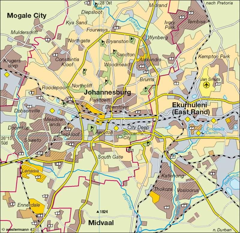 Johannesburg |  | Afrika - Bevölkerung/Siedlung | Karte 136/3