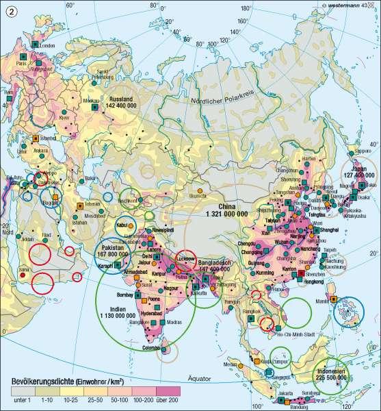 Bevölkerung |  | Asien - politische und physische Übersicht/Bevölkerung | Karte 146/2