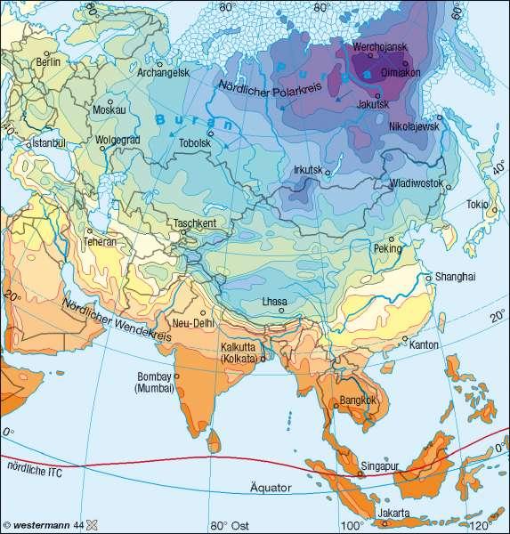 Temperaturen im Jänner |  | Asien – Klima | Karte 104/1