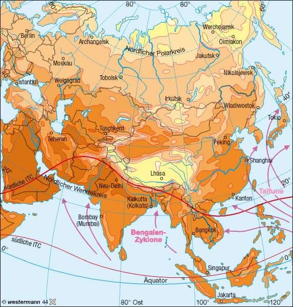Temperaturen im Juli      Asien - Klima   Karte 148/2