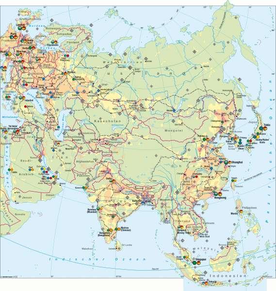Karte Asien.Diercke Weltatlas Kartenansicht Asien Wirtschaft übersicht