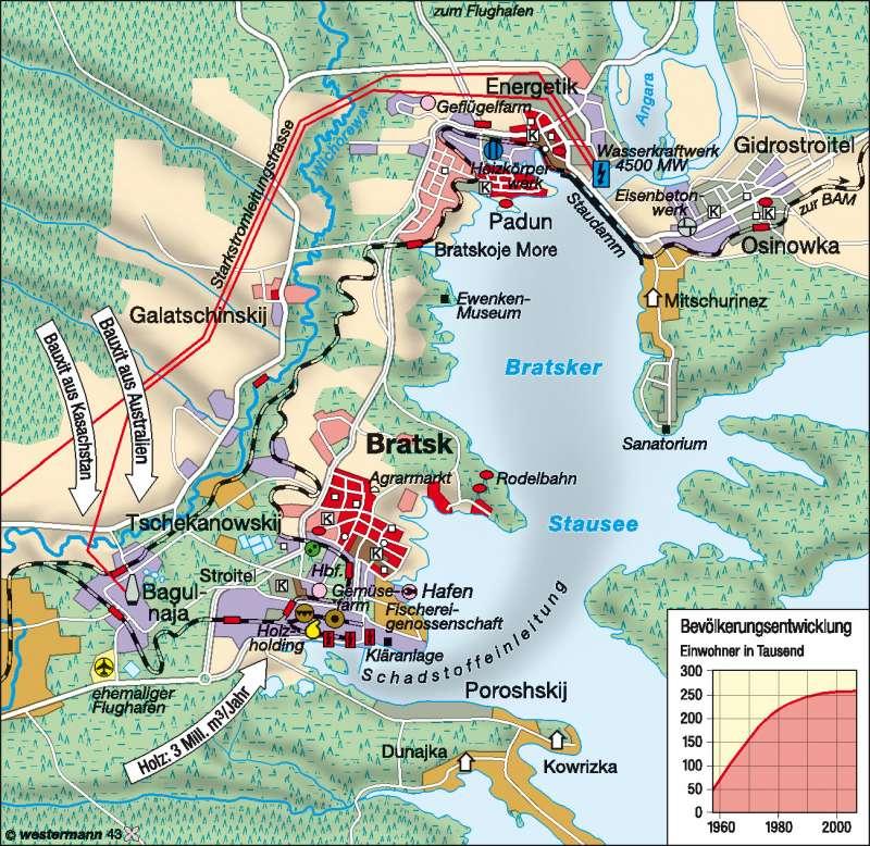 Bratsk   sozialistische Pionierstadt   Sibirien   Karte 156/3