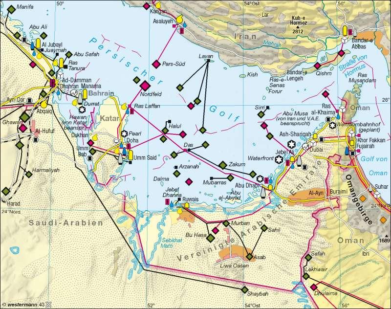 Arabische Golfstaaten | Wirtschaft | Golfstaaten | Karte 163/2