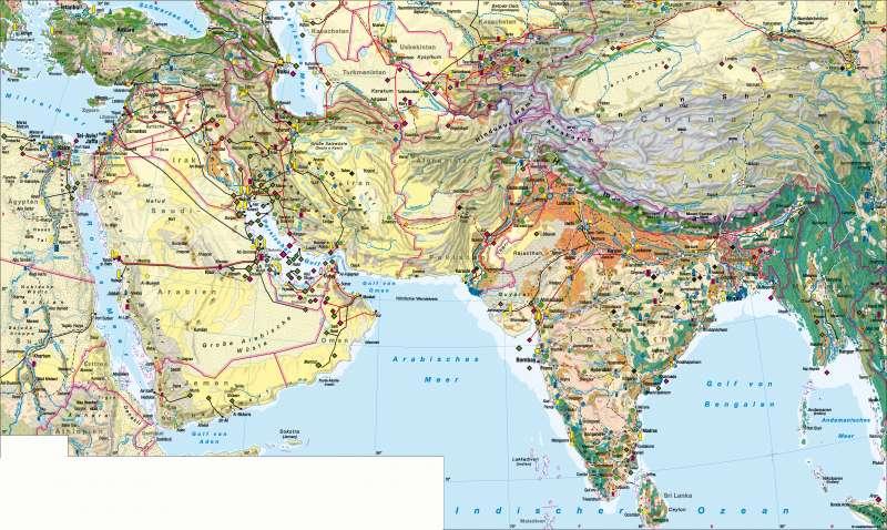 West- und Südasien | Wirtschaft | West- und Südasien - Wirtschaft | Karte 164/1