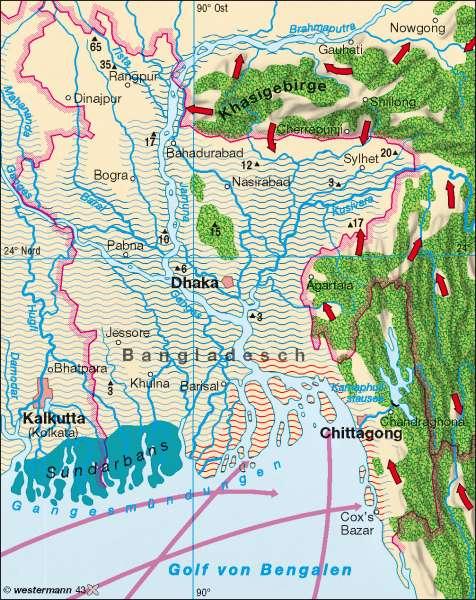 Bangladesch | Überschwemmungen | Südasien | Karte 166/4