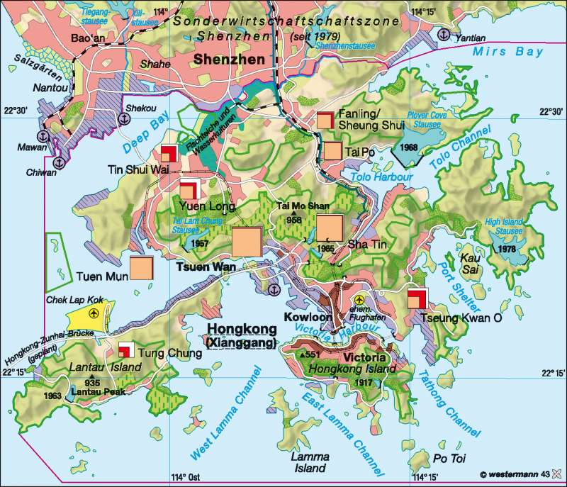 Map Of Kowloon Hong Kong Island