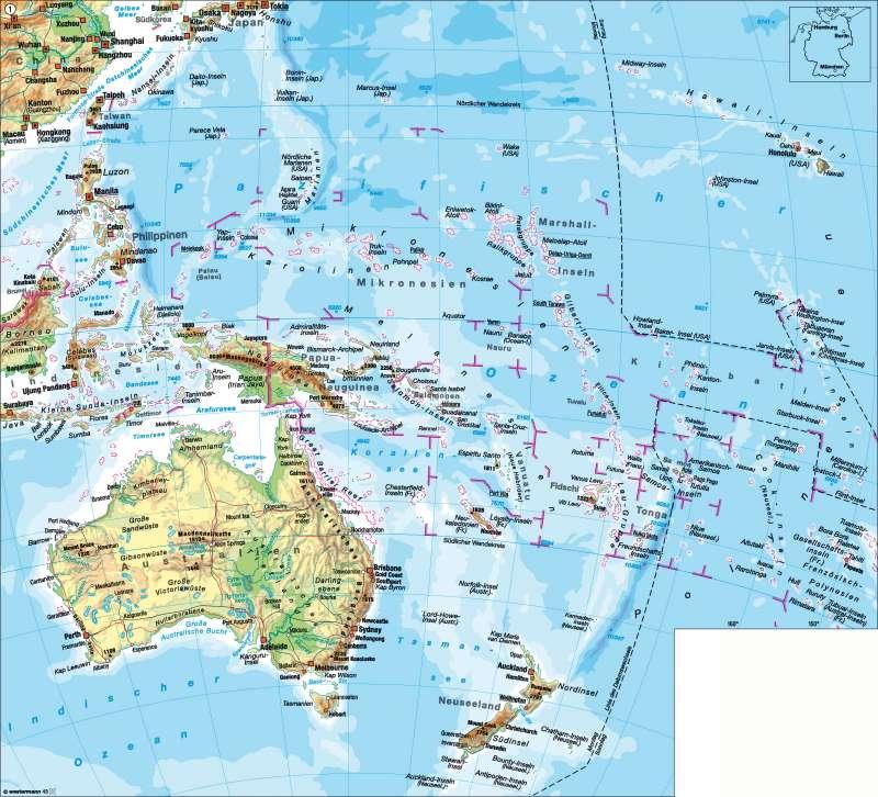 Australien/Ozeanien | physische Übersicht | Australien und Ozeanien - physische Übersicht | Karte 182/1