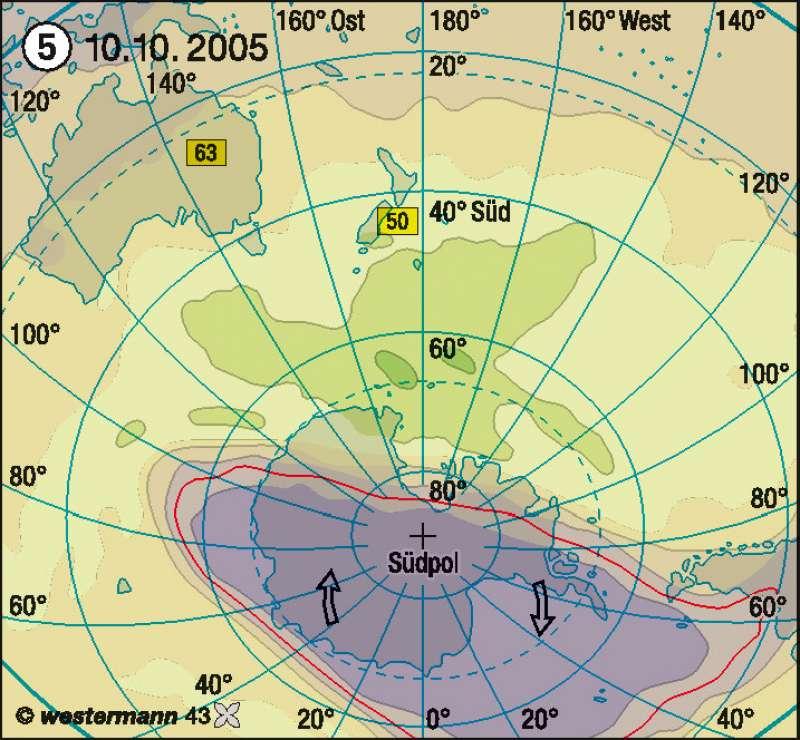 Antarktisches Ozonloch 2005 |  | Australien und Ozeanien - physische Übersicht | Karte 183/5