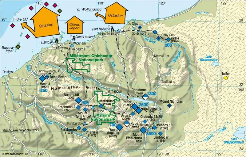 Pilbara (Nordwestaustralien)   Eisenerzrevier   Australien   Karte 184/2
