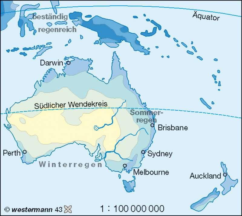 Niederschläge im Jahr |  | Australien und Ozeanien – physische Übersicht/Klima | Karte 127/4