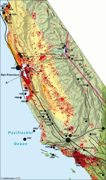 Kalifornien Karte.Diercke Weltatlas Kartenansicht Kalifornien Erdbeben 978 3