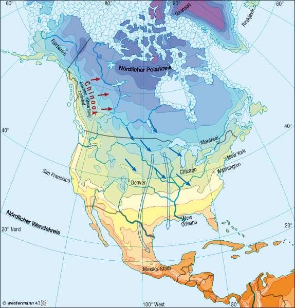 Temperaturen im Januar |  | Nord- und Mittelamerika - Klima | Karte 192/1