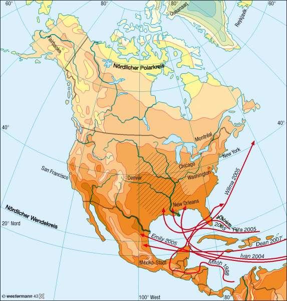Temperaturen im Juli |  | Nord- und Mittelamerika – Klima | Karte 146/2