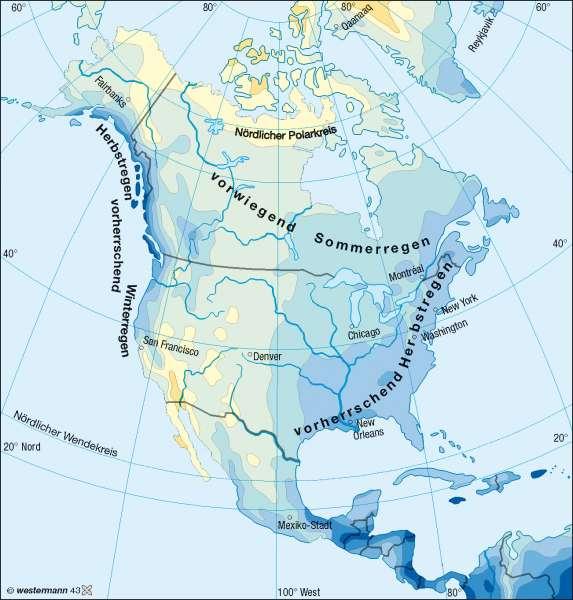 Niederschläge im Jahr |  | Nord- und Mittelamerika - Klima | Karte 192/3