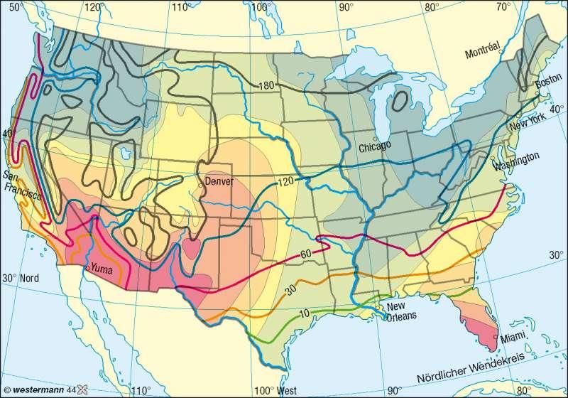 Sunbelt/Frostbelt |  | Nord- und Mittelamerika - Klima | Karte 192/4