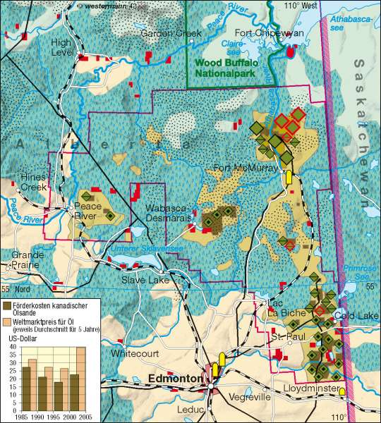 Alberta (Kanada) | Ölsandabbau | Vereinigte Staaten von Amerika (USA)/Kanada - Wirtschaft | Karte 198/1