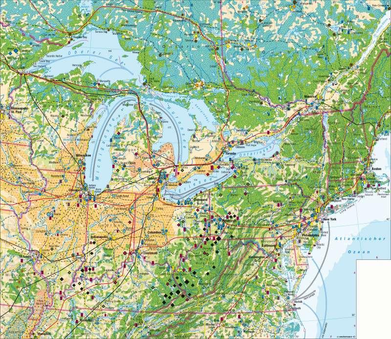 Nordoststaaten der USA | Wirtschaft | Nordoststaaten der USA - Wirtschaft | Karte 200/1