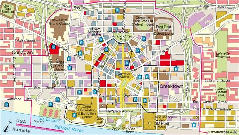 rcke Weltatlas - Kartenansicht - Detroit - Nutzung und ... on