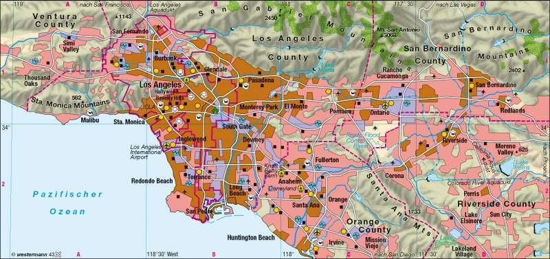 Los Angeles | Stadtlandschaft | Kalifornien | Karte 205/3