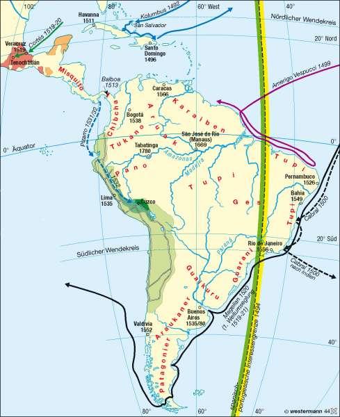 Entdeckungszeitalter |  | Mittel- und Südamerika - Bevölkerung/Staaten | Karte 210/1