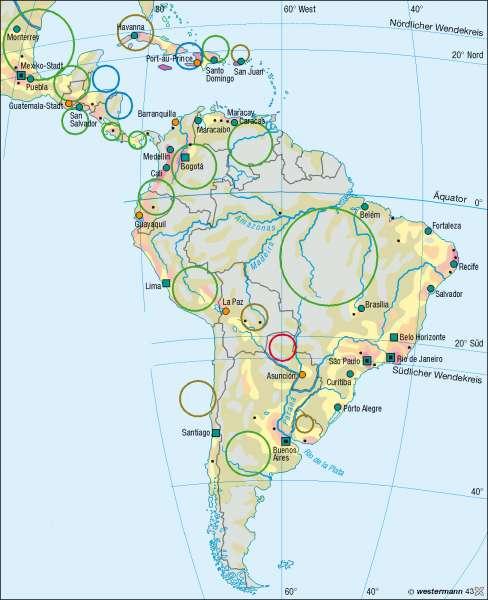 Bevölkerung |  | Mittel- und Südamerika – Bevölkerung/Staaten | Karte 164/4