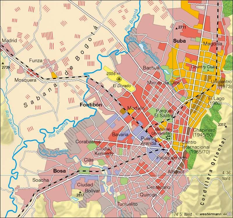 Bogotá | Wohnqualität/Sozialstruktur | Kolumbien/Venezuela | Karte 211/2