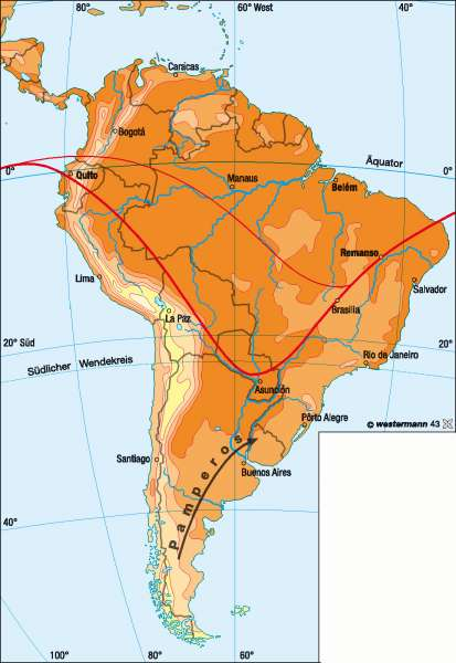 Temperaturen im Januar |  | Südamerika - Klima | Karte 216/1