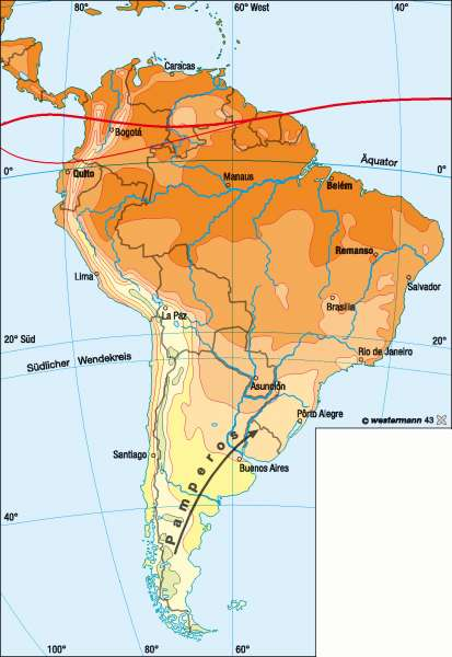 Temperaturen im Juli |  | Südamerika – Klima | Karte 162/2