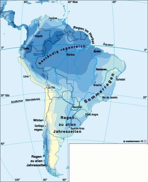 Niederschläge im Jahr      Südamerika – Klima   Karte 162/3