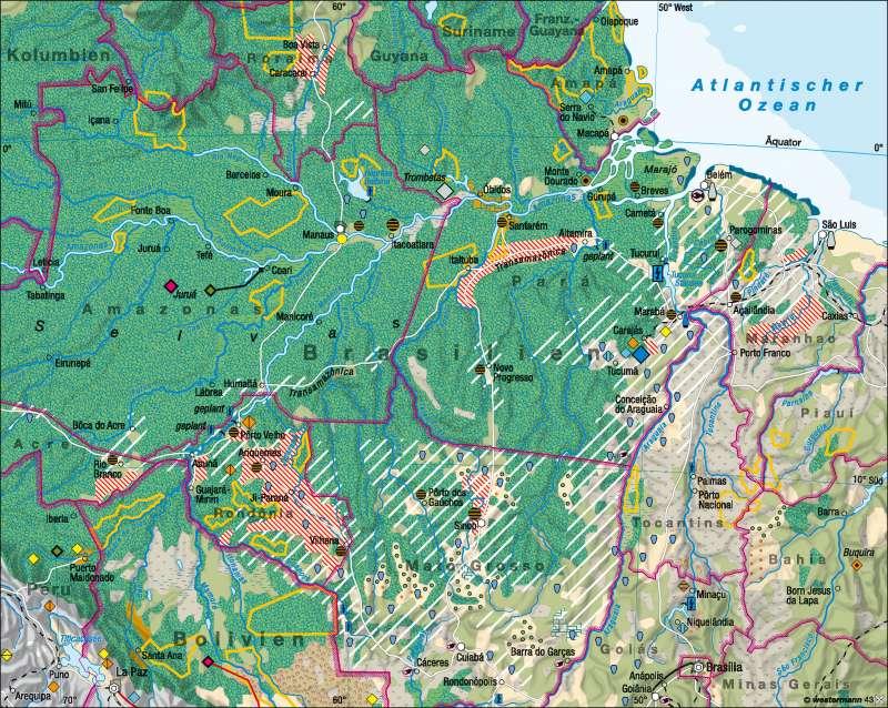 Amazonien | Eingriffe in den tropischen Regenwald | Amazonien | Karte 163/5