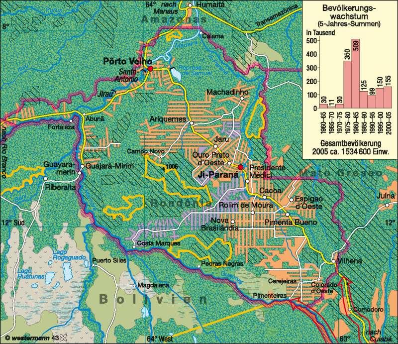 Rondônia | Agrarkolonisation | Amazonien | Karte 163/6