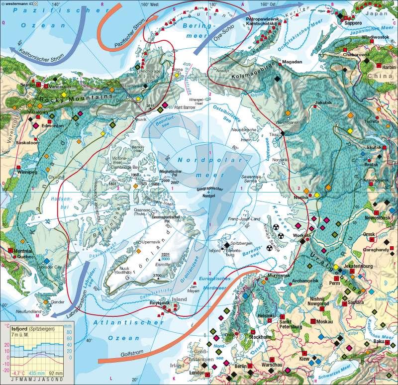 Diercke Weltatlas Kartenansicht Nordpolargebiet Arktis