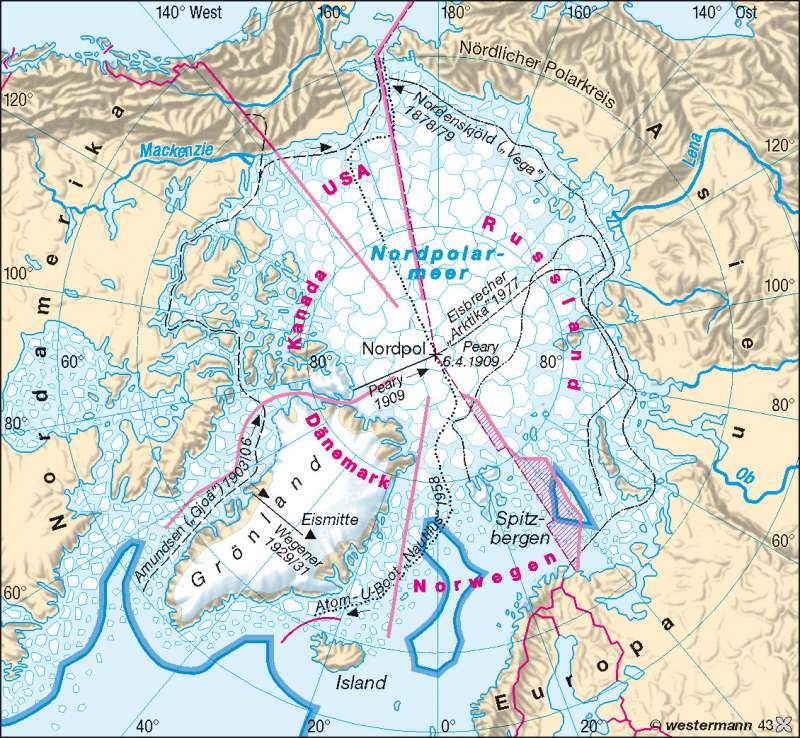 Nordpolarmeer Karte.Diercke Weltatlas Kartenansicht Arktis Nordpol Entdeckung