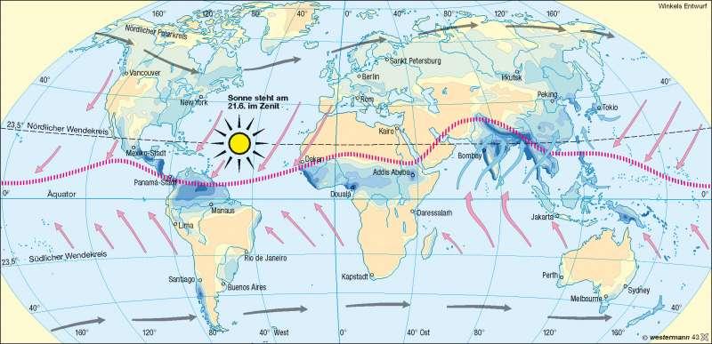 Niederschläge im Juli | Nordsommer-Südwinter | Erde – Klima | Karte 172/2