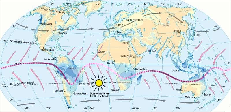 Niederschläge im Jänner | Nordwinter-Südsommer | Erde – Klima | Karte 173/3