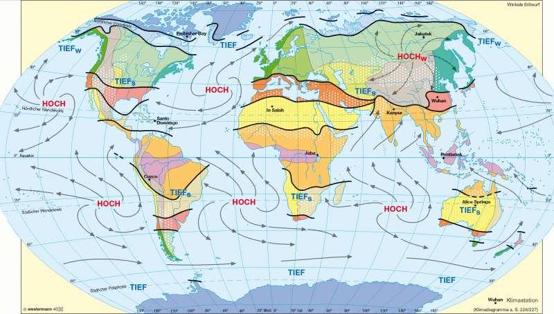 Klimate der Erde nach Neef/Flohn |  | Erde - Klima, Luftdruck und Winde | Karte 230/1