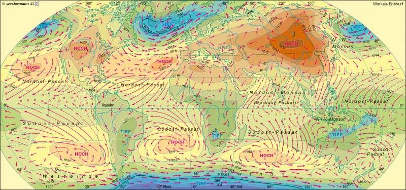 Luftdruck und Winde im Januar |  | Erde - Klima, Luftdruck und Winde | Karte 230/2