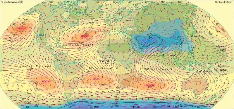 Luftdruck und Winde im Juli |  | Erde - Klima, Luftdruck und Winde | Karte 231/4