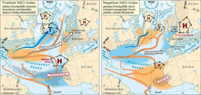Nordatlantische Oszillation (NAO) | winterliche Wettersysteme | Erde - Klimadynamik | Karte 232/2
