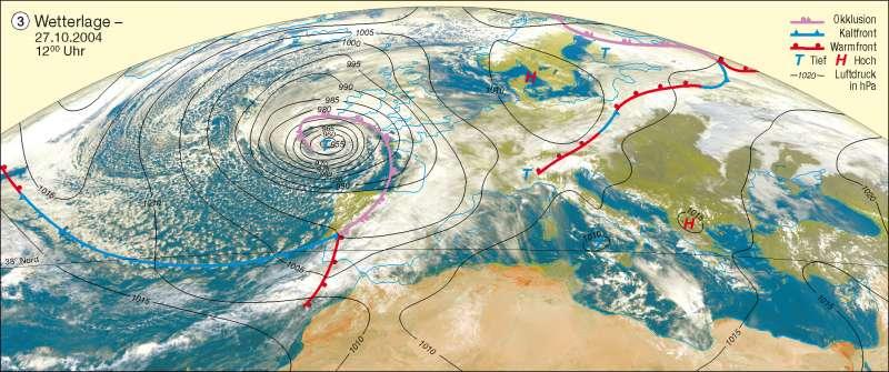 Wetterlage | 27.10.2004 12 Uhr | Erdatmosphäre/Wetterbeobachtung | Karte 192/3