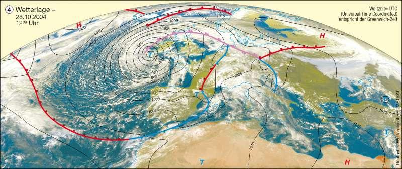 Wetterlage | 28.10.2004 | Erdatmosphäre/Wetterbeobachtung | Karte 233/4