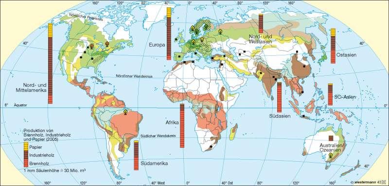 Waldnutzungs- und Forstwirtschaftsformen      Erde – reale Vegetation/Landnutzung   Karte 176/2