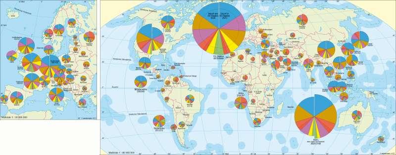 Welthandel nach Ländern und Warengruppen (2005) | | Erde - Welthandel | Karte 244/1