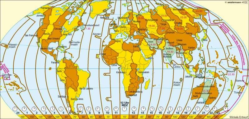 Zeitzonen |  | Erde - Zeitzonen | Karte 257/3