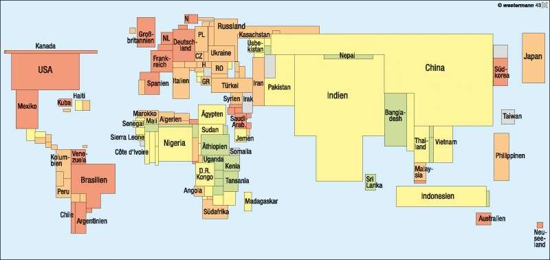 Bevölkerungsverteilung und Verstädterung      Weltbild   Karte 258/3