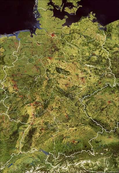 Deutschland   Weltraumbild   Deutschland - Weltraumbild   Karte 14/1