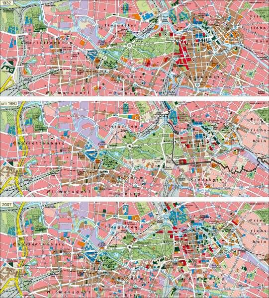 Berlin | Innenstadt 1932 / um 1980 / 2007 | Berlin | Karte 27/4