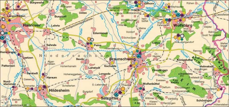 Östliches Niedersachsen | Zulieferer der Automobilindustrie | Industrieraum Braunschweig-Wolfsburg | Karte 28/2