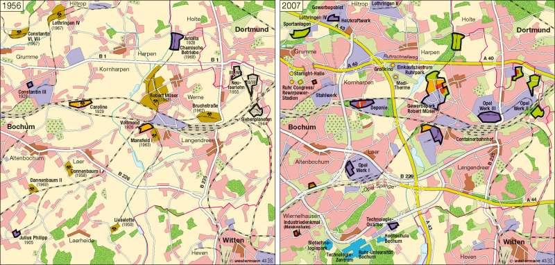 Bochum | Strukturwandel 1956 / 2007 | Bochum/Ruhrgebiet | Karte 31/1